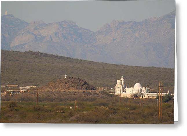 Quinlan Greeting Cards - Kitt Peak Above San Xavier  Greeting Card by Aaron Burrows