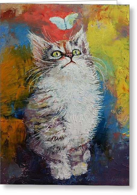 Kids Room Art Paintings Greeting Cards - Kitten and Butterfly Greeting Card by Michael Creese