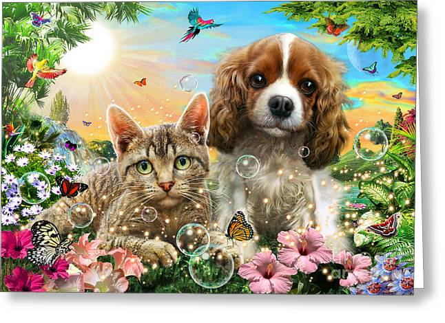 Spaniel Digital Art Greeting Cards - Kitten and Puppy Greeting Card by Adrian Chesterman