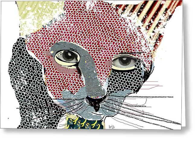 Kitten Mixed Media Greeting Cards - Kitten Graffiti Greeting Card by Bri Buckley