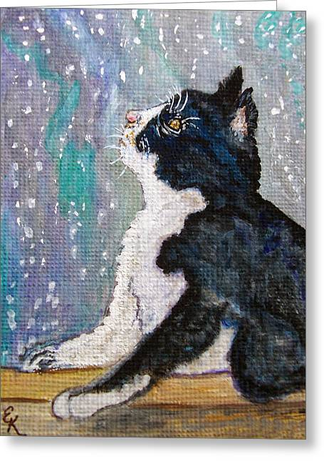 Large Format Animal Print Greeting Cards - Kitten in the window Greeting Card by Ella Kaye Dickey