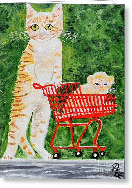 Going For A Walk Greeting Cards - Kitten Walk Greeting Card by Art by Danielle
