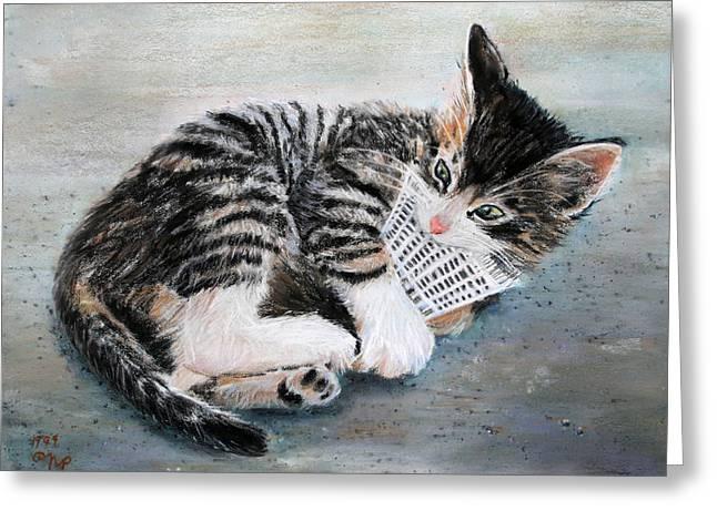 Kitten With Birdie Greeting Card by Nick Payne