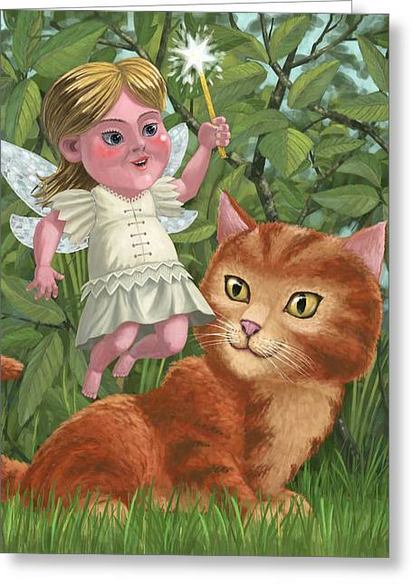 Cute Kitten Greeting Cards - Kitten With Girl Fairy In Garden Greeting Card by Martin Davey