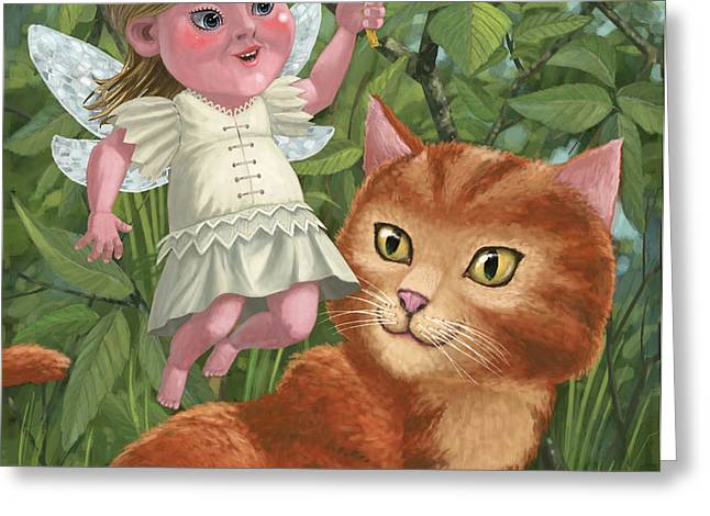 kitten with girl fairy in garden Greeting Card by Martin Davey