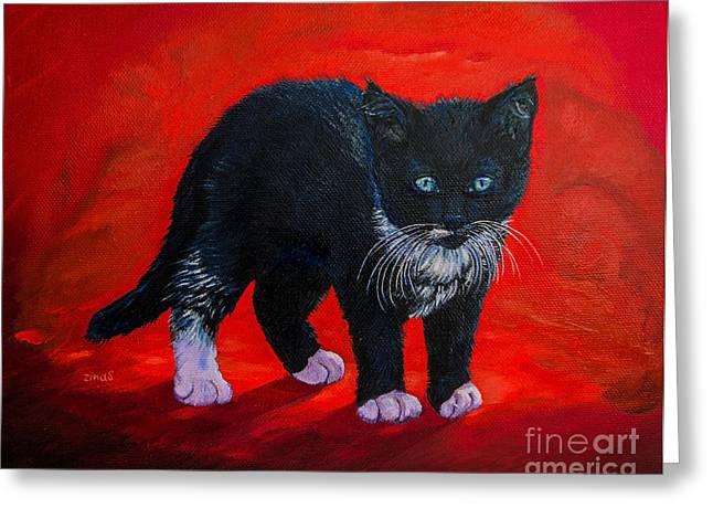 Print On Canvas Greeting Cards - Kitten Greeting Card by Zina Stromberg
