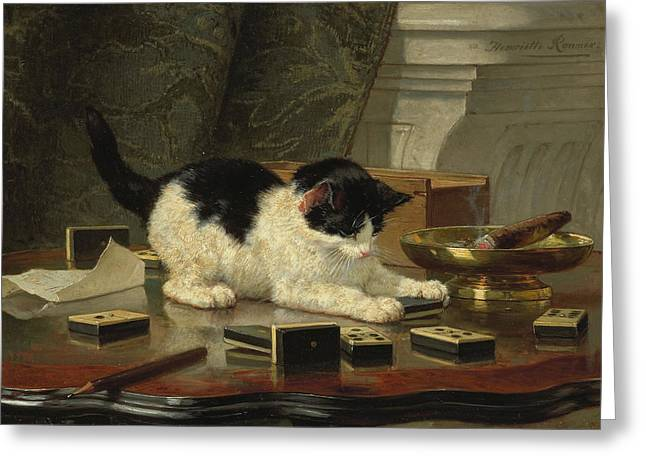 Henriette Greeting Cards - Kittens Game Greeting Card by Henriette Ronner-Knip