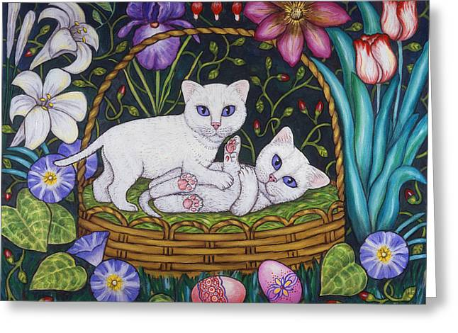 Kittens Greeting Cards - Kittens in a Basket Greeting Card by Linda Mears