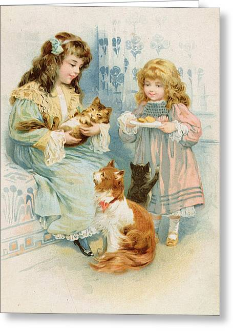 Kittens Tea Party  Greeting Card by Anonymous