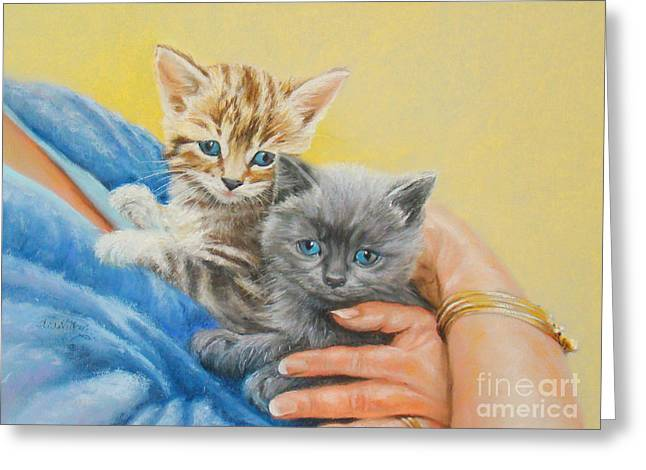 Cute Kitten Pastels Greeting Cards - Kittens To Love Greeting Card by Sheila  Vickers