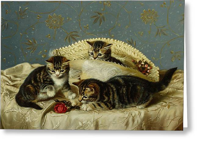 Animal Wallpaper Greeting Cards - Kittens up to Mischief Greeting Card by HH Couldery