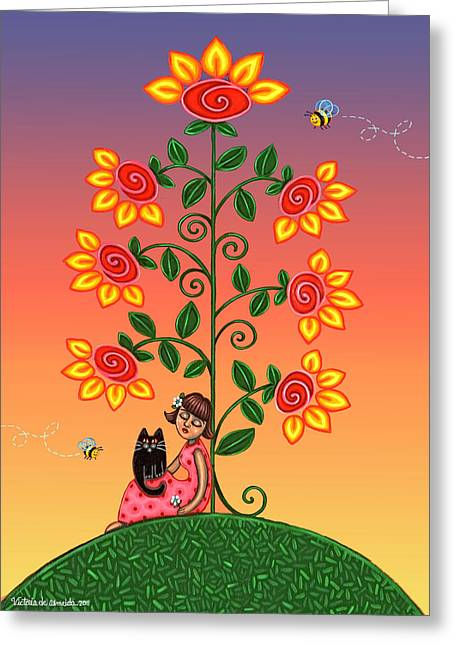 Hispanic Folk Art Greeting Cards - Kitty and Bumblebees Greeting Card by Victoria De Almeida
