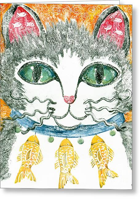 Tuxedo Mixed Media Greeting Cards - Kitty Bling Greeting Card by June Beard