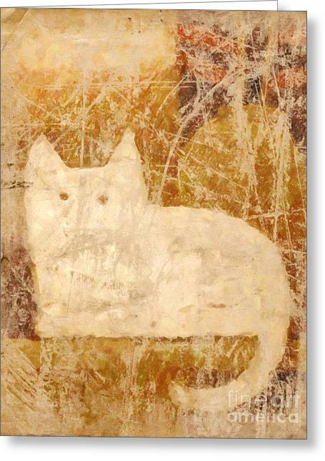 Abstract Cat Greeting Cards - Kitty Cat Greeting Card by Lutz Baar