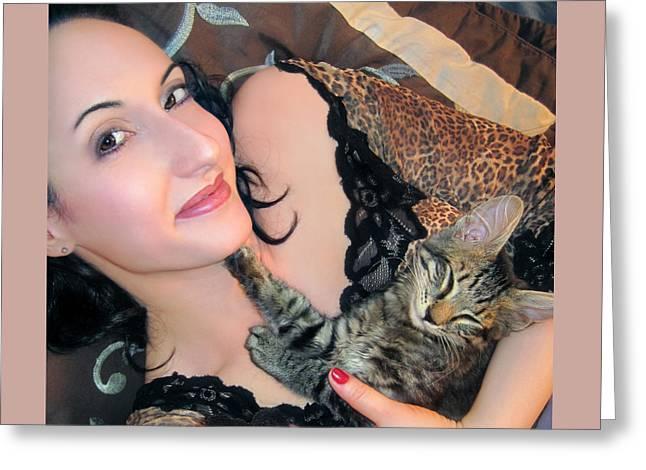 Self-portrait Photographs Greeting Cards - Kitty Cuddles SP with Mikino Greeting Card by Jaeda DeWalt