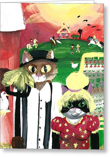 Kitty Farmer Greeting Card by Shelby McSweeney