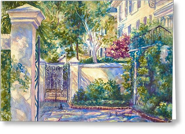 Charleston Greeting Cards - Kitty in the Corner Greeting Card by Alice Grimsley