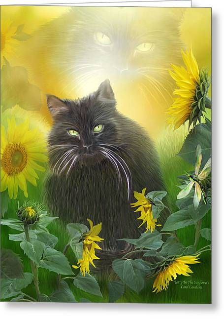 Cat Prints Mixed Media Greeting Cards - Kitty In The Sunflowers Greeting Card by Carol Cavalaris