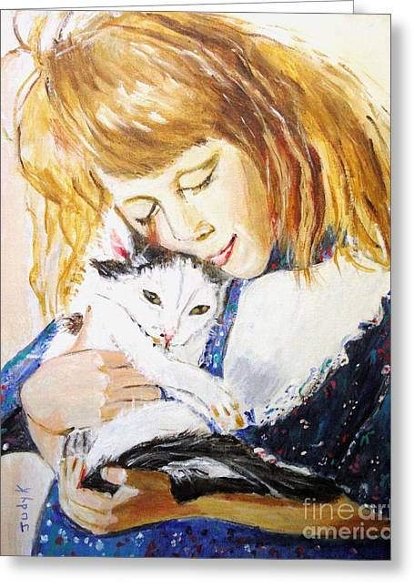 Children Paintings Greeting Cards - Kitty Greeting Card by Judy Kay