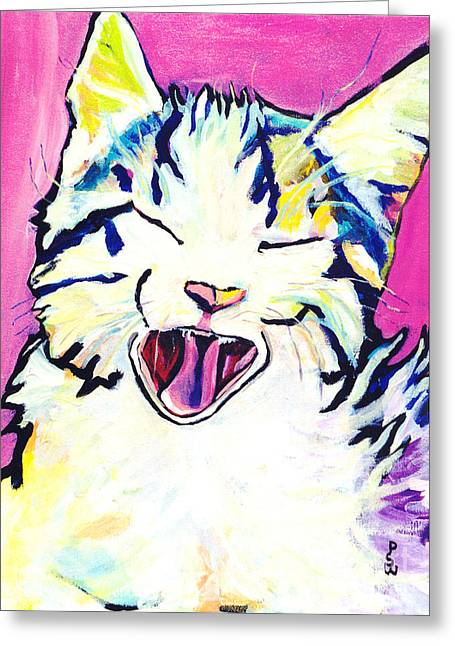 Kitten Prints Greeting Cards - Kitty Kry Greeting Card by Pat Saunders-White