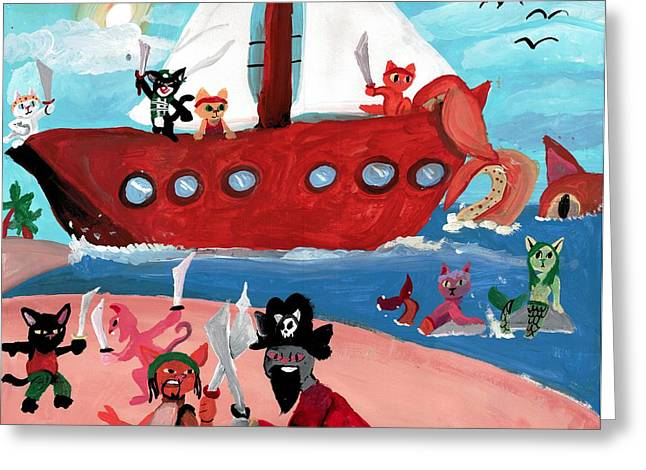 Pirates Paintings Greeting Cards - Kitty Pirates Greeting Card by Shelby McSweeney