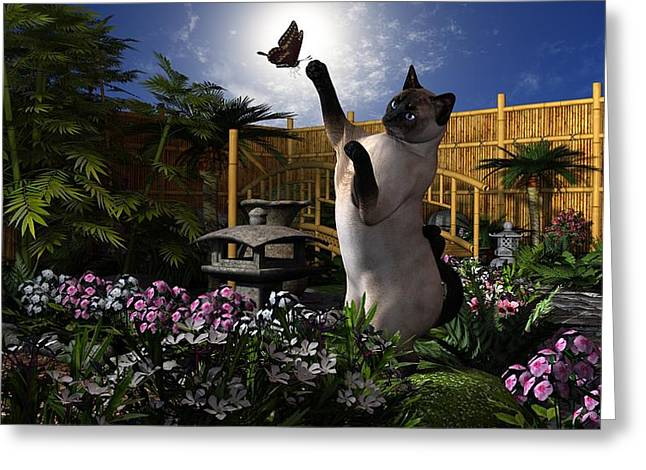 Oriental Teapot Greeting Cards - Kitty Play  Greeting Card by Todd and candice Dailey