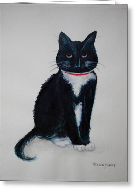 Veronica Rickard Greeting Cards - Kitty - painting Greeting Card by Veronica Rickard