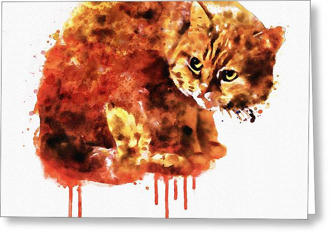 Cute Mixed Media Greeting Cards - Kitty watercolor Greeting Card by Marian Voicu