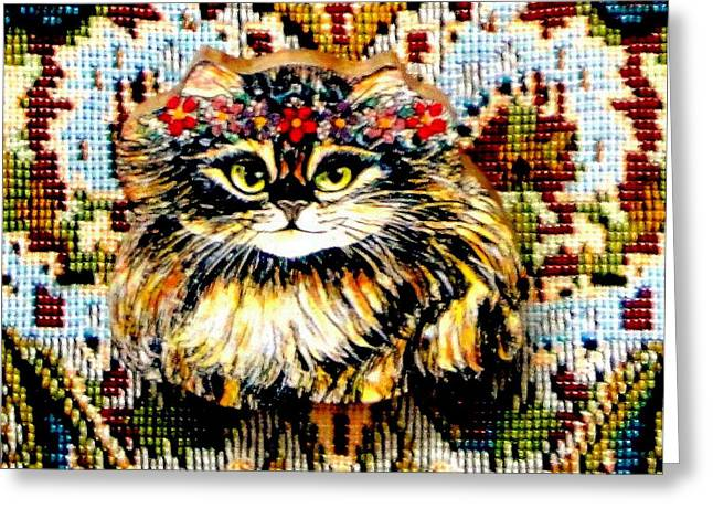 Kitty Jewelry Greeting Cards - Kitty Wooden Pin Greeting Card by Natalie Holland