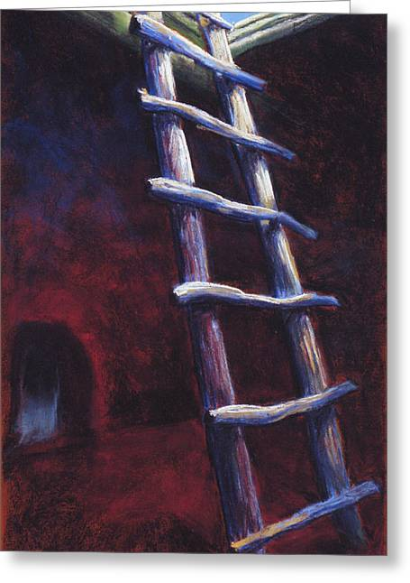 Dine Pastels Greeting Cards - Kiva Ladder in Bandelier NM Greeting Card by Holly Wright