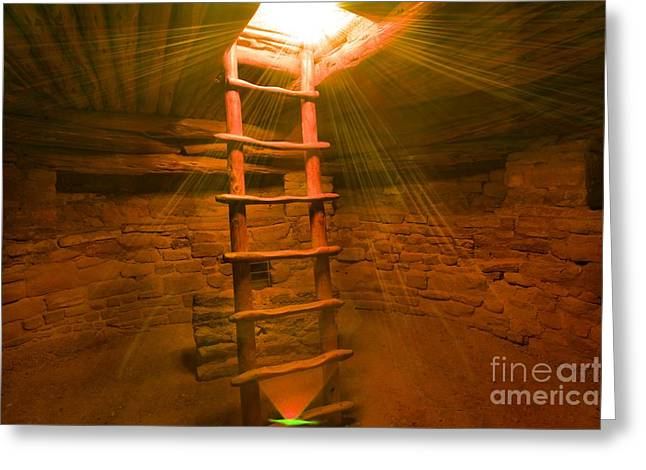 Mesa Verde Greeting Cards - Kiva Sun Rays Greeting Card by Adam Jewell