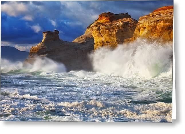 Pacific Northwest Greeting Cards - Kiwanda Cliffs Greeting Card by Darren  White