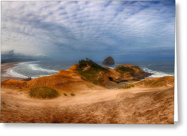 Panoramic Ocean Photographs Greeting Cards - Kiwanda Pano Greeting Card by Darren  White