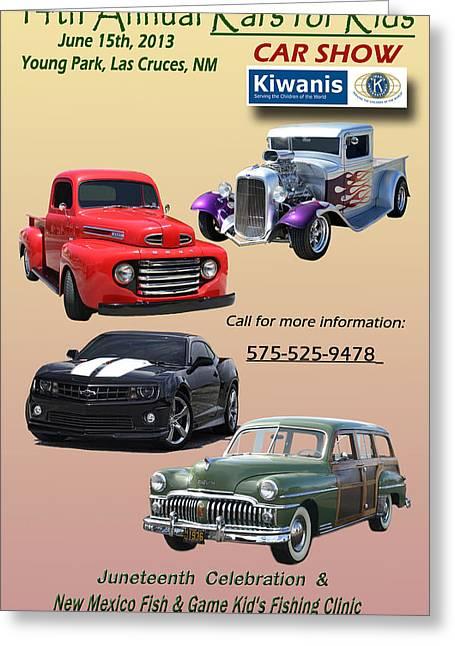 Fund Raising Greeting Cards - Kiwanis Car Show Poster Greeting Card by Jack Pumphrey