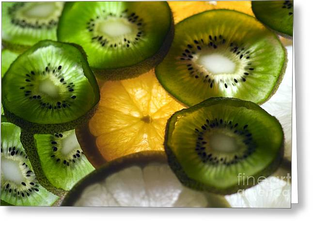 Kiwifruit Greeting Cards - Kiwi and oranges Greeting Card by Mirko Pernjakovic