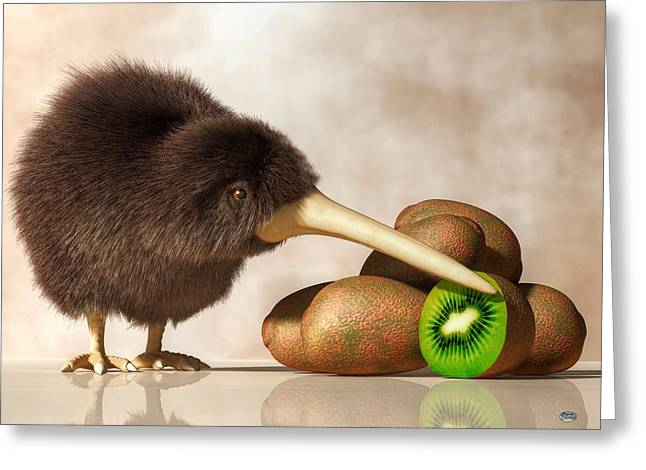 Exotic Fruit Greeting Cards - Kiwi Bird and Kiwifruit Greeting Card by Daniel Eskridge