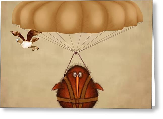 Kiwi Greeting Cards - Kiwi bird Kev parachuting Greeting Card by Marlene Watson