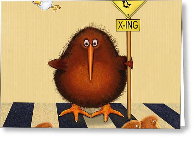 Kiwis Greeting Cards - Kiwi birds crossing Greeting Card by Marlene Watson