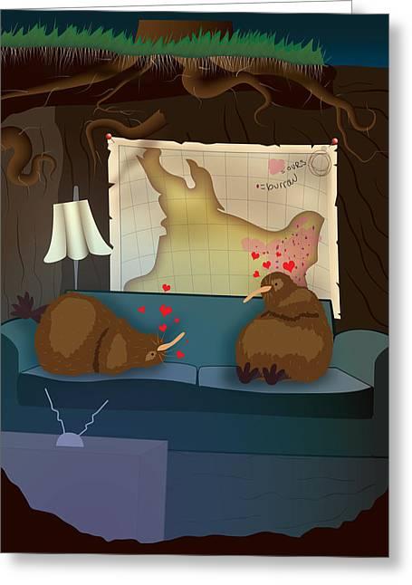 Kiwi Art Digital Art Greeting Cards - Kiwi Burrow Greeting Card by MC McNellis