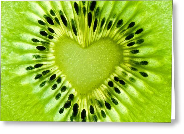 Kiwi Heart Greeting Card by Delphimages Photo Creations