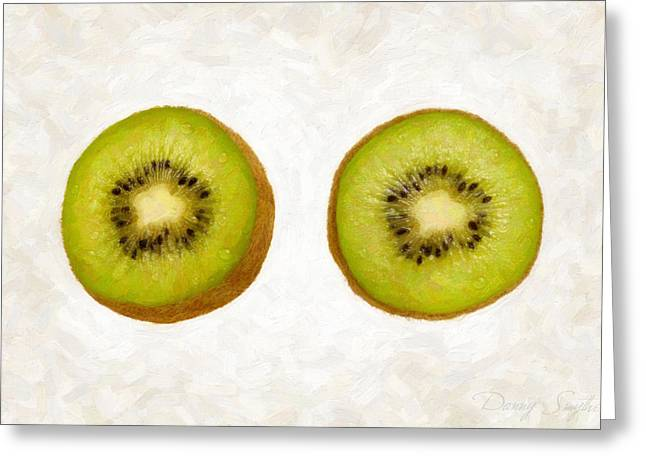 Single Object Paintings Greeting Cards - Kiwi Slices Greeting Card by Danny Smythe