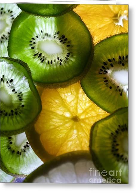 Kiwifruit Greeting Cards - Kiwifruit with oranges Greeting Card by Mirko Pernjakovic
