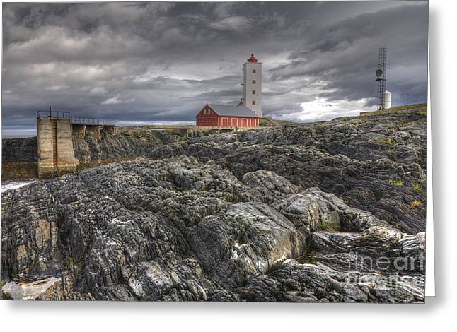 Finnmark Greeting Cards - Kjolnes Lighthouse 1 Greeting Card by Heiko Koehrer-Wagner