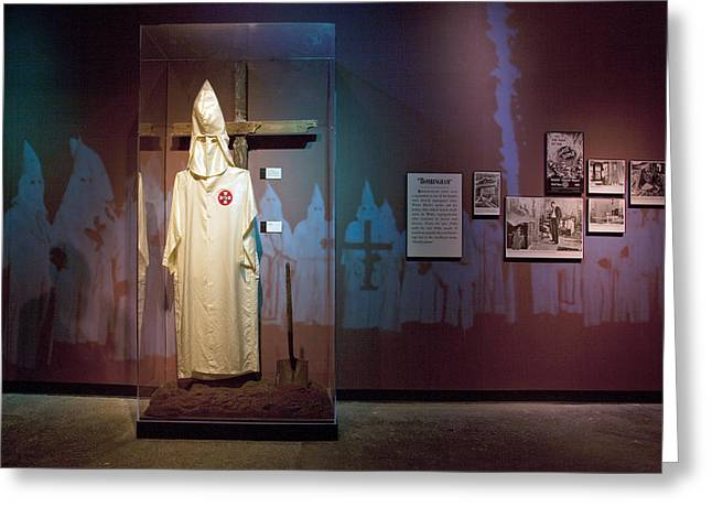 Civil Rights Greeting Cards - KKK Robe Display at the Civil Rights Institute in Birmingham Greeting Card by Carol M Highsmith