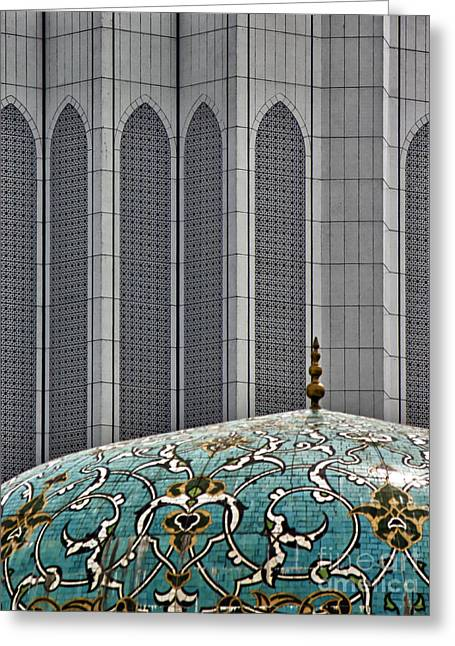 Illuminate Greeting Cards - KL abstract mosque Greeting Card by Christos Koudellaris