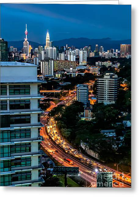 City Buildings Digital Greeting Cards - KL City Greeting Card by Adrian Evans