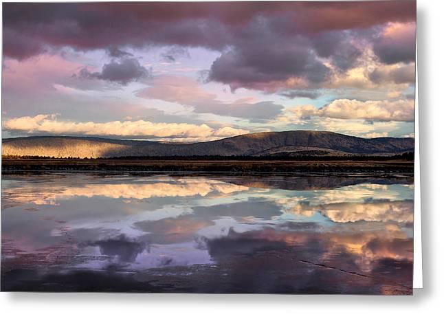 Wildlife Refuge. Greeting Cards - Klamath Basin Sunset Greeting Card by Kathleen Bishop