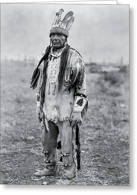 Male Native American Standing Greeting Cards - Klamath Indian Man circa 1923 Greeting Card by Aged Pixel