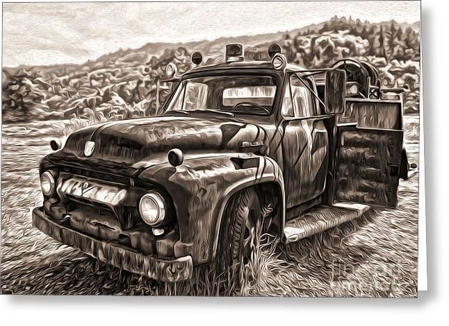 Gregory Dyer Greeting Cards - Klamath Old Fire Truck in Sepia Greeting Card by Gregory Dyer