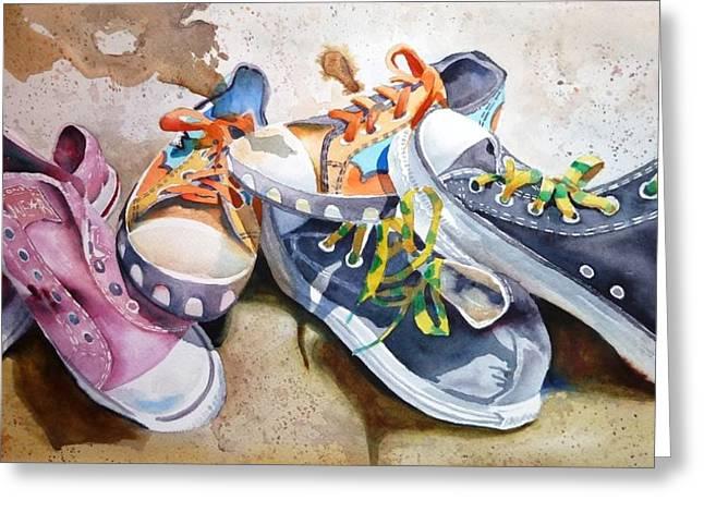 Sneakers Paintings Greeting Cards - Klassic Kicks Greeting Card by Donna MacLure